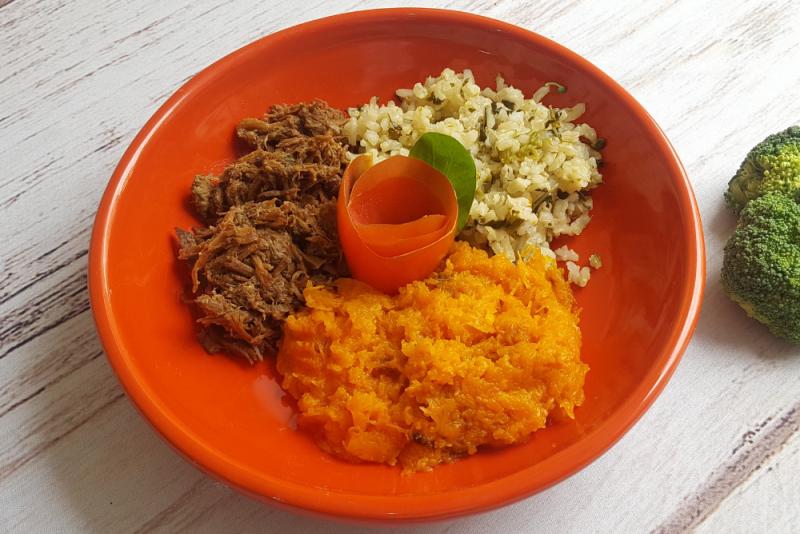 Carne assada desfiada + arroz integral com brócolis + purê de abóbora