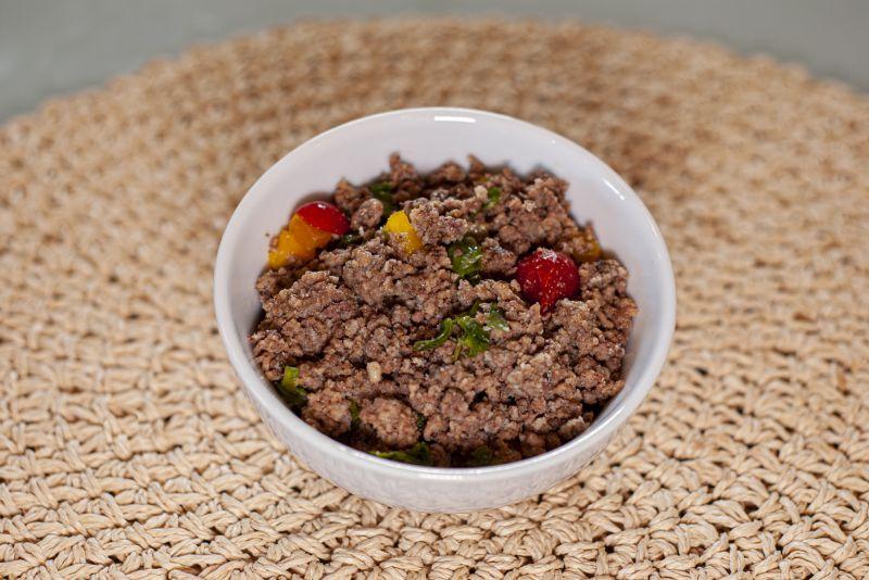 Carne moída (120g) + abobrinha italiana + berinjela assada