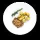 carne desfiada com batata bolinha