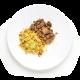carne desfiada e cuscuz marroquino