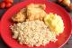 Pescada a Dore com arroz integral e pure de mandioquinha da Maddas