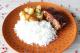 Costelinha com barbecue, arroz branco e batata a doreda maddas