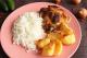 Frango Assado, arroz branco e batata da maddas