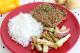 Kibe Vegetariano, arroz branco e batata doce da Maddas