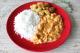 strogonoff de frango, arroz branco e batata a dore da maddas